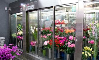 冷蔵ケース・大型倉庫を完備。お花を新鮮な状態に保ちます。